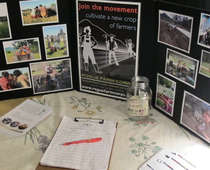 Sign up sheets from Rogue Farm Corps