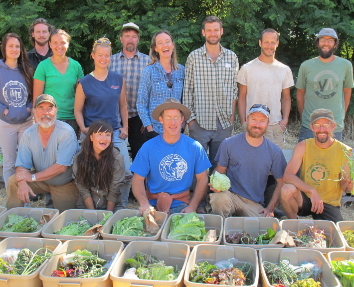 Siskiyou Sustainable Cooperative during one of their pack down days, posing with the vegetable boxes.