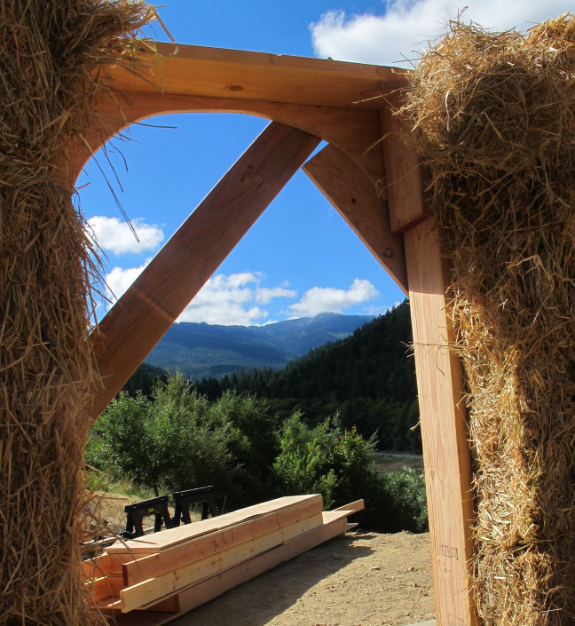 A straw bale building at Full Bloom Community